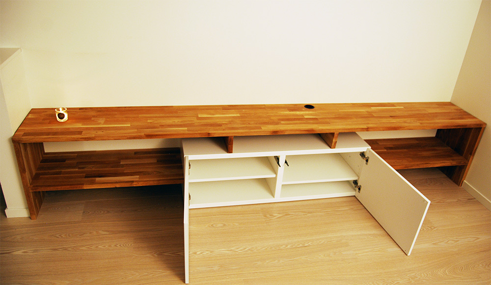 Made To Measure Besta And Oak Tv Bench Huskverna